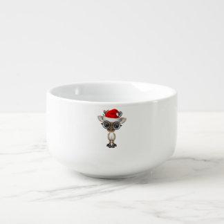 Nerdy Baby Reindeer Wearing a Santa Hat Soup Mug