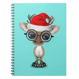 Nerdy Baby Reindeer Wearing a Santa Hat Spiral Notebook
