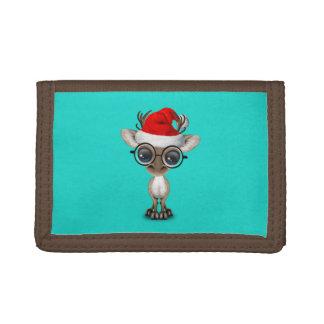 Nerdy Baby Reindeer Wearing a Santa Hat Trifold Wallet