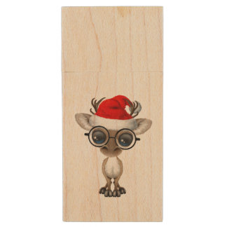 Nerdy Baby Reindeer Wearing a Santa Hat Wood USB Flash Drive