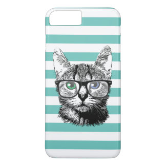 Nerdy Cat Hipster Kitten Classy Stripes iPhone 7 Plus Case