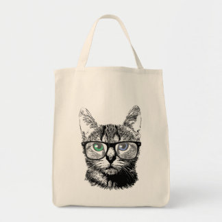 Nerdy Cat Hipster Kitten in Glasses Tote Bag