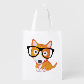 nerdy corgi reusable grocery bags