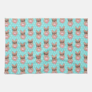 Nerdy French Bulldog Tea Towel