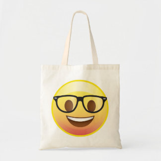 Nerdy Glasses Book Bag Emoji Happy Face Tote