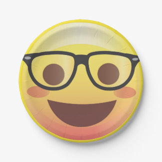 Nerdy Glasses Happy Emoji Paper Party Plate 7 Inch Paper Plate