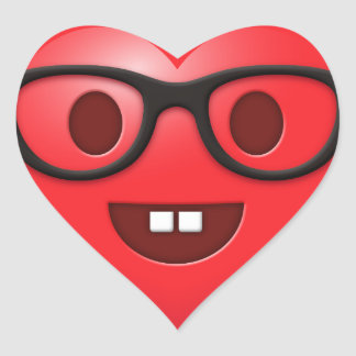 Nerdy Heart Emoji Heart Sticker