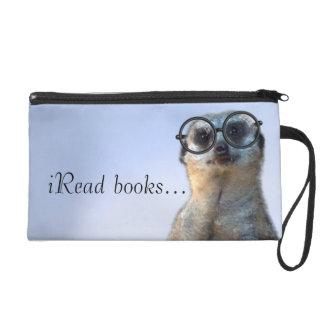 Nerdy Meerkat, hipster, goofy, librarian, funny Wristlet Clutch