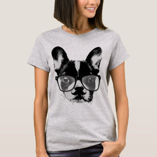 Nerdy Mustache French Bulldog Hipster Dog T-Shirt