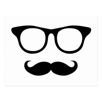 Nerdy Mustache Man Postcard