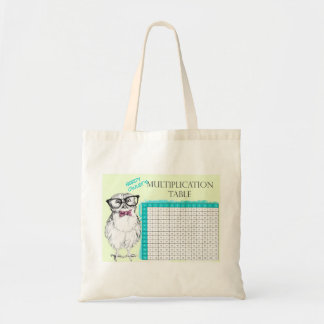 Nerdy Owl multiplication table Budget Tote Bag