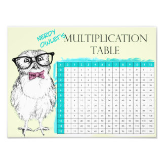 Nerdy owlet multiplication table photographic print