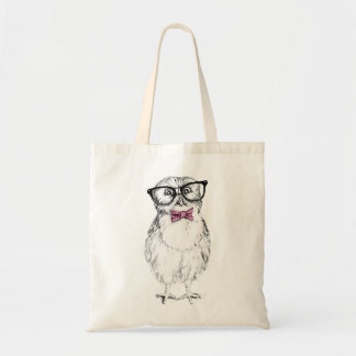 Nerdy Owlet small and smart   ink drawing Budget Tote Bag