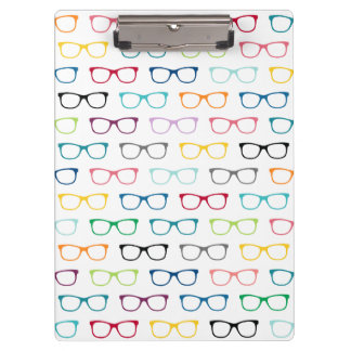 Nerdy Pattern Multicolor Hipster Glasses Geek Clipboard