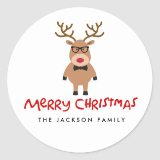 Nerdy Reindeer Christmas Holiday Stickers