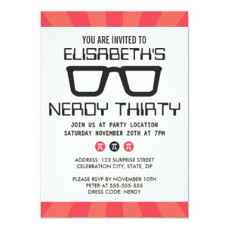 Nerdy thirty birthday party with geeky glasses 13 cm x 18 cm invitation card