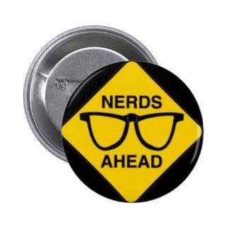 NERDZONE01 NERDS AHEAD WARNING SIGN FUNNY TECHNICA 6 CM ROUND BADGE