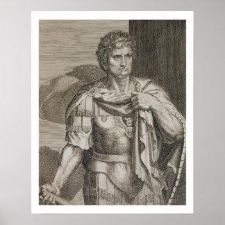 Nero Claudius Caesar Emperor of Rome 54-68 AD engr Poster