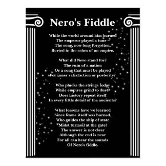 Nero's Fiddle Poem White on Black Postcard