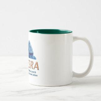 NESRA Two-Tone Ceramic Coffee Mug - White/Green