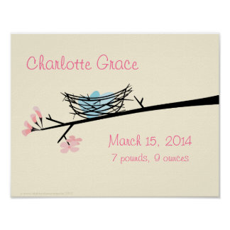Nest and Blossoms Personalized Nursery Poster