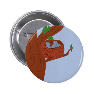 Nest Robin Eggs and Multicolored Numbers Button