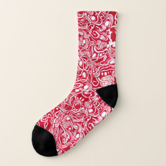 Nested Pebbles Red Ink Doodle Socks 1
