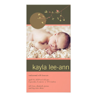 Nesting Bird & Family Baby Girl Photo Announcement Photo Card Template