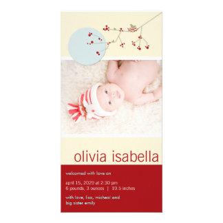 Nesting Bird & Family Photo Baby Girl Announcement Custom Photo Card