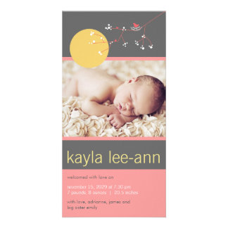Nesting Bird & Family Photo Baby Girl Announcement Personalized Photo Card
