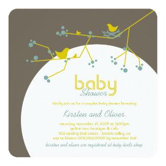 Nesting Birds Family Tree Couples Baby Shower 13 Cm X 13 Cm Square Invitation Card