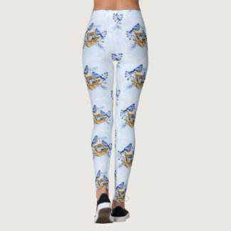 Nesting Bluebirds Watercolor for Bird Lovers Leggings