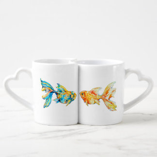 Nesting Coffee Mug Set with Watercolor Goldfish