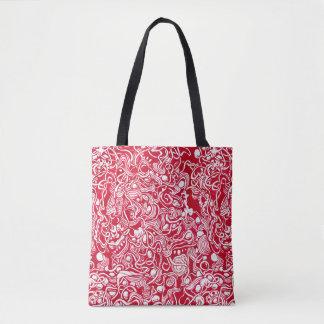 Nestled Pebbles Red Ink Doodle Tote Bag