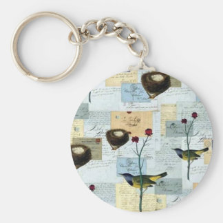 Nests and small birds key ring
