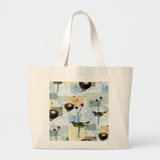 Nests and small birds large tote bag