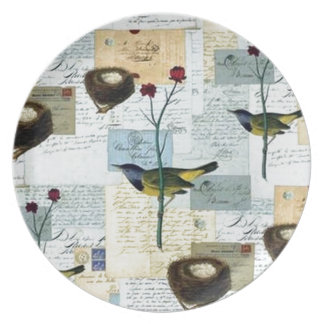 Nests and small birds plate