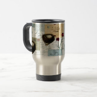 Nests and small birds travel mug