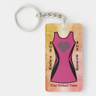 Netball Dress Themed Personalised Custom Colour Key Ring