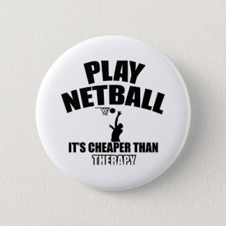Netball player designs 6 cm round badge