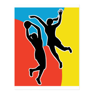 netball player jumping shooting blocking postcard