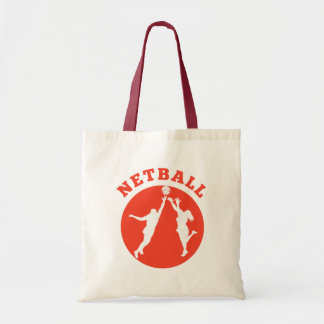Netball player rebounding for ball tote bag