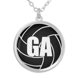 Netball Players Position, Goal Attack GA Silver Plated Necklace
