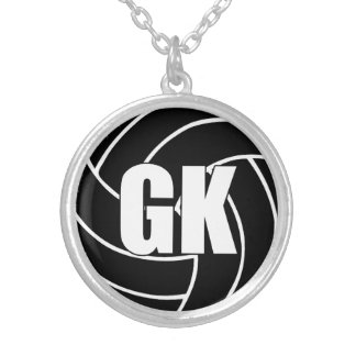 Netball Players Position, Goal Keeper GK Silver Plated Necklace