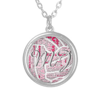Netball Positions Ball Design With Monogram Silver Plated Necklace