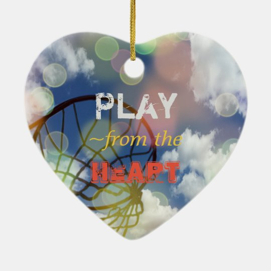 Netball Positions Heart Quote Ceramic Heart Decoration