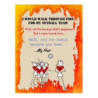Netball Positions Stick Figures With Funny Quote Postcard