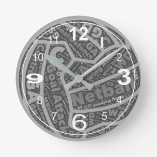Netball Positions Themed Ball Design Round Clock
