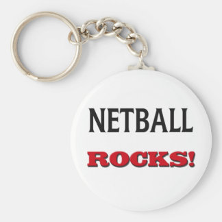 Netball Rocks Basic Round Button Key Ring