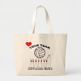 Netball Team Players and Ball Logo Personalised Large Tote Bag